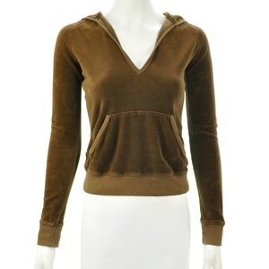 JUICY COUTURE BROWN VELOUR V-NECK HOODIE SIZE S